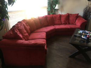 Price reduced Red Microfibre Sectional