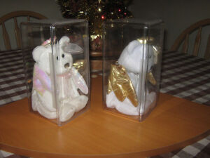 ANGELS! 2 TY Beanie Babies: Gold + Pink/Mother-of-Pearl + Cases