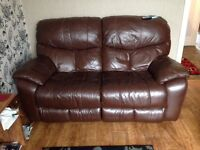 Leather reclining sofa and chair