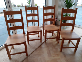 Set of 4 high backed solid, sturdy Oak wooden dining chairs