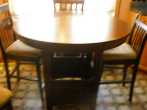 Solid wood Pub Type Table and 4 Chairs