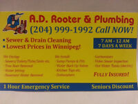 A. D. Rooter & Plumbing /  Sewer & Drain Cleaning (204) 999-1992