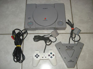 PlayStation 1 w/4 Player Multi Adapter & 1 Controller!