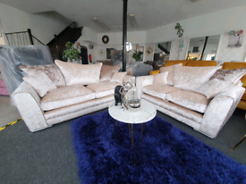 NEW Arianna 3 + 2 Seater Champagne Crushed Velvet Sofa Suite DELIVERY