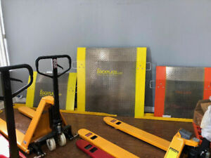 ramp, dock board, pump truck, fork extensions, scales, pallet ja