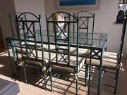Dining Table Wrought Iron + 6 Chairs + 6 Cushions Joondalup Joondalup Area Preview