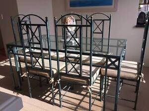 Dining Table Wrought Iron 6 Chairs Cushions
