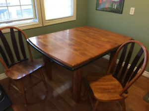 ASHLEY Solid Ash Dining Room Table (with leaf) & 2 Chairs