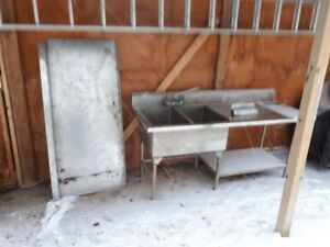 Solid Stainless Steel Industrial Double Sink and Counter