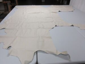 Leather Cowhide scraps pieces upholstery crafts Seashell Beige