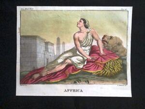 Allegoria-dell-039-Africa-Incisione-colorata-a-mano-del-1820-Mitologia-Pozzoli