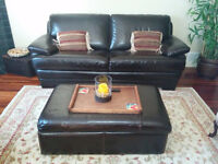 Great Leather Sofa, Ottoman, Chair