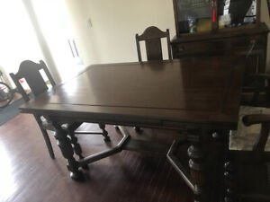 Antique Buffet, hutch and Dining table set