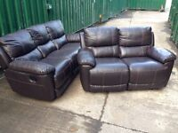 HARVEYS Oberon Brown LEATHER RECLINING 3 and 2 Seater sofa set Ex DISPLAY model brown