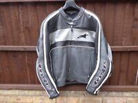 *ALPINESTARS T-DYNO GREY/BLACK ~ LEATHER MOTORCYCLE JACKET* Size XL (46)