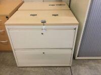 Cream 2 drawer desk high side filling cabinet.