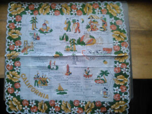 wedding & vintage linen hanky California mint condition 1940s/50