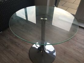 Dwell glass and chrome table