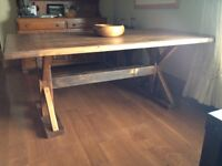 6 Foot Early American stain Harvest Table.