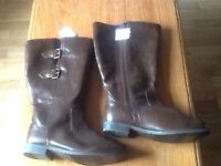 Ladies brown leather boots size 10UK.