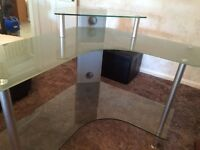 Glass corner computer desk