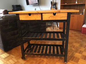 Îlot de cuisine mobile avec 2 tiroirs.