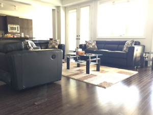 Sofa Set - Leather, Electronically Reclining w/ coffee table set