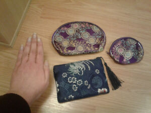 3 small Chinese cosmetic bags