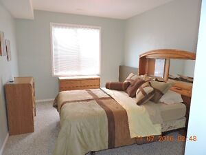 large bedroom with access to rest of basement