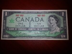 Canadian Centennial One Dollar Bill - Excelent Condition!