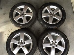 Set of 4 VW rims with winter tires