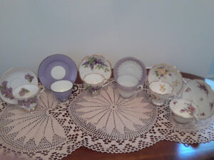 6 Collectible vintage teacups in pretty purple tones
