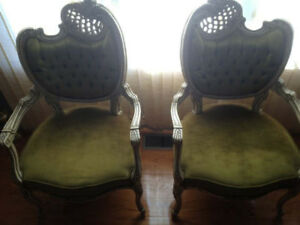 antique Rococo hand carved chairs in mint condition