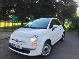 2012 White Fiat 500 1.2 Lounge 3 Door - Red Leather Interior - Full Service Hist