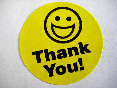 500 Big Thank You Smiley Label Stickers Yellow