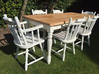 Lovely 6ft Shabby Chic Chunky Farmhouse Pine Table With and 6 Chairs Inc Two Carvers