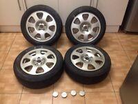 "Audi a2 4 x 15"" alloy wheels just painted 5 stud original audi alloys can post"
