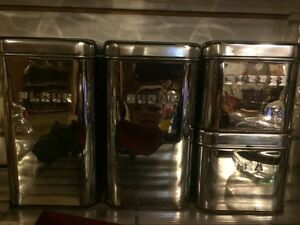 Set of 4 vintage chrome canisters great condition