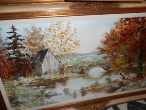 Large Oil Painting  Cottage country with exceptional frame