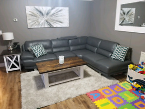 Genuine grey leather sectional