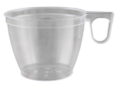 en klar 180 ml PS Einwegtasse Tasse Becher Henkel (30200) (Klar Kaffeetassen)