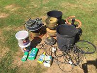Fish pond filters, pump, food, spares parts etc koi