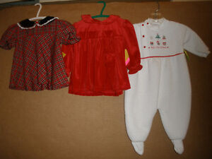 Girls Xmas Dresses and Sleeper.  Size 6 mos.
