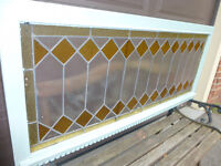 LARGE ANTIQUE STAINED GLASS WINDOW Reduced