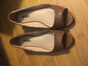 Brown peep toe flats
