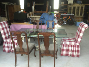 Wrought iron, dining table, coffee table, chair, glass, vintage