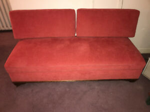 Antique solid wood sofa with 2 pillows