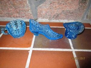 Victorian BLUE Glass - 3 collectible pieces for $10 TOTAL