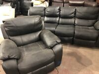 Harveys belaire Four seater and reclining armchair black