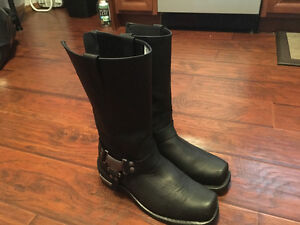 Harley style Milwaukee motorcycle leather boots for sale. Never
